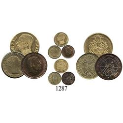 Lot of 3 Spanish miniature replicas: 1850 Isabel II 20 reales in brass, 1930 Alfonso XIII fantasy in