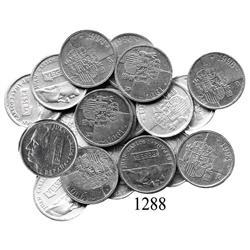 Lot of 19 Spain aluminum pesetas, 1989-1997.