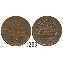 Sweden (Emergency issue), 1 daler, 1715.