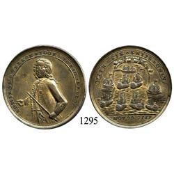 """Great Britain, brass """"Admiral Vernon"""" medal, 1739, Porto Bello (Panama)."""