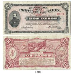 Salta, Argentina, 2 pesos, 1928.