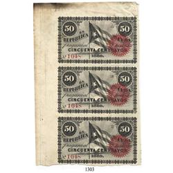 Cuba, uncut set of 3 banknotes of 50 centavos each, 1869.