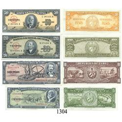 """Cuba, set of banknotes in denominations of 50, 20, 10 and 5 pesos, 1960, with """"Che"""" signature."""