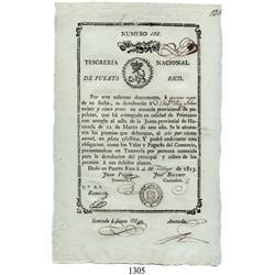 Puerto Rico (National Treasury), 25 pesos (promissory note), 1813.
