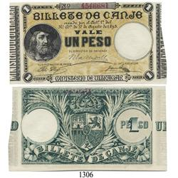 """Puerto Rico (Spanish Department of Overseas Affairs), 1 peso compulsory """"coin exchange"""" note, 1895."""