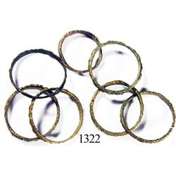 Lot of 7 bronze rings.