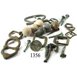 Lot of musketballs, buckles, nails and button, various periods.