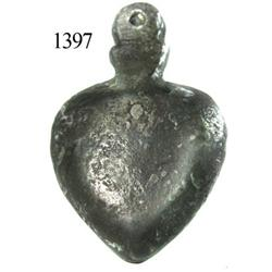 Heart-shaped pewter locket/reliquary.