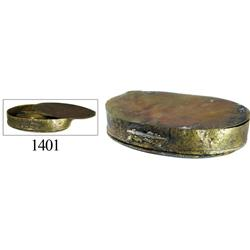 Brass oval box for sealing wax (three parts).