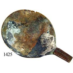 Brass spoon fragment.