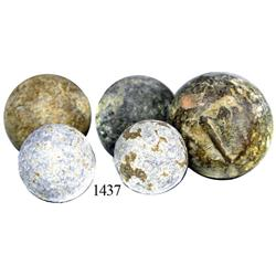 Lot of 5 lead musketballs.