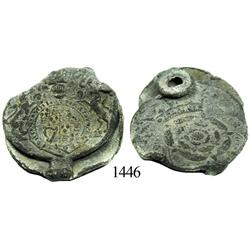 Large lead cloth seal with Tudor rose and British arms designs.