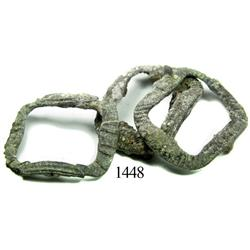 Lot of 3 small, brass buckles.