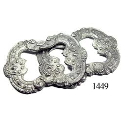 Lot of 2 large, ornate pewter buckles.