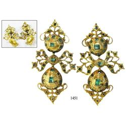 Pair of gold filigree/emerald earrings.