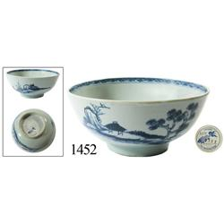 "Chinese blue-on-white porcelain bowl, ""scholar on bridge"" pattern, in choice condition."