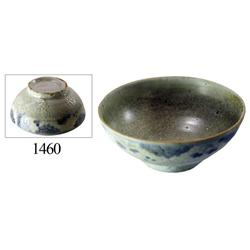 Chinese blue-on-white porcelain rice bowl, grapevine design.