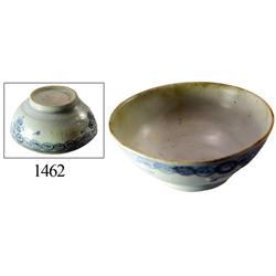 Chinese blue-on-white porcelain rice bowl, swirled design.