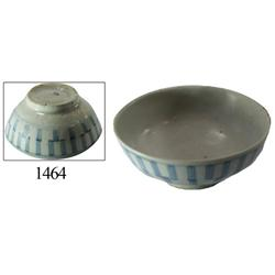 Chinese blue-on-white porcelain rice bowl, striped design.
