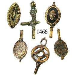 Lot of 6 cuprous watch keys and fobs.