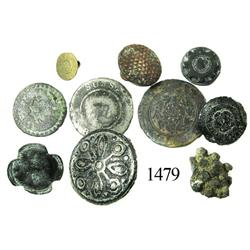 Lot of 10 small bronze/pewter buttons.