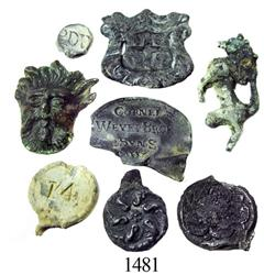 Lot of 8 bronze/pewter/lead seals and appliqués.