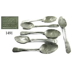 Lot of 6 large pewter spoons.