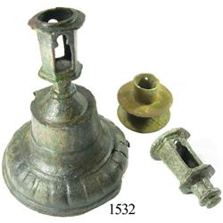 Bronze candlestick holder and parts of 2 others.