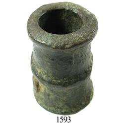 Very small bronze signal cannon cast with nail, Spanish colonial, 1600s.