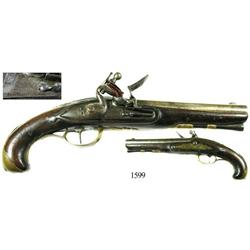 "French flintlock ""traveler's pistol"" (pistolet de voyage), mid- to late 1700s."