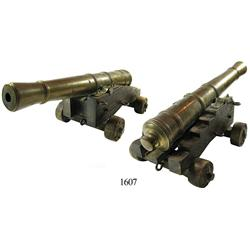 Small, solid-brass miniature cannon and carriage, 1800s.