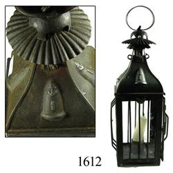 English naval candle-lantern, rolled iron and glass, ca. 1820.