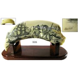 Modern scrimshaw by artist Salman Rashidi (1990s) depicting the whaling bark Navarch (1892-7).