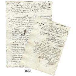 Old Spanish colonial document from Bolivia dated 1589.
