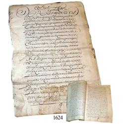 Old Spanish colonial document from Bolivia dated 1619.