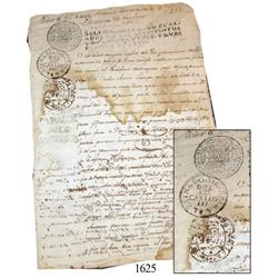 Old Spanish colonial document from Bolivia dated 1776, with seals.