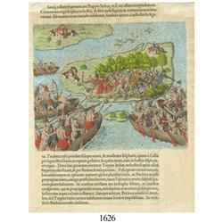 Hand-colored engraving by Theodor DeBry, 1592, depicting conflict with natives in Brazil.