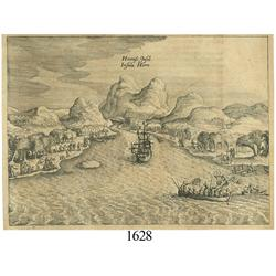 Ca.-1655 German wood-cut engraving showing Cape Horn (southern tip of South America).