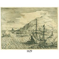 Ca.-1655 German wood-cut engraving showing Cocos Island off Costa Rica.