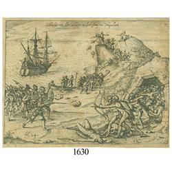 Ca.-1655 German wood-cut engraving showing a battle with natives in the Straits of Magellan.