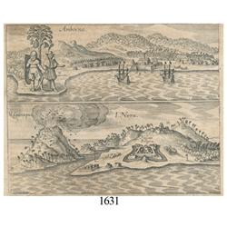 Ca.-1655 German wood-cut engraving showing East India Co. settlements in Indonesia.