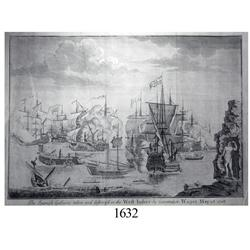 Large, ca.-1720 engraving of Commodore Wager's campaign against the Spanish in the West Indies in 17