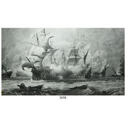 Large, late 18th/ early 19th-century engraving of ships in battle.