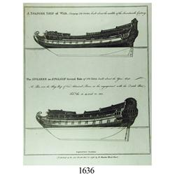 1796 London engraving of the designs of two 17th-century ships.