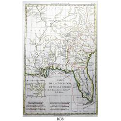 Ca.-1770 French map (Bonne) of Louisiana and Florida in 3 colors.