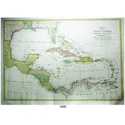Large, ca.-1779 British map (Blair) of the West Indies in 4 colors.