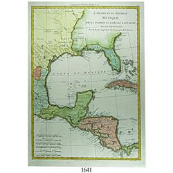 Ca.-1788 French map (Bonne) of the regions surrounding the Gulf of Mexico and western Caribbean in 4