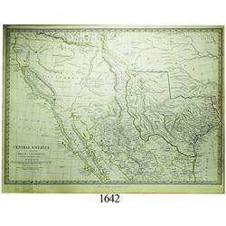 1842 British map (S.D.U.K.) of Texas, California and northern Mexico with hand-colored borders.