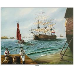 Original oil-on-canvas painting of the Dutch East Indiaman Rooswijk (sunk in 1739 off southeast Engl
