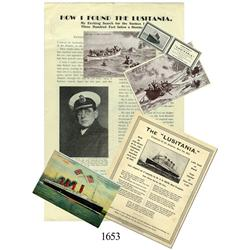 Lot of memorabilia pertaining to the Lusitania sinking (torpedoed by the Germans in 1915).